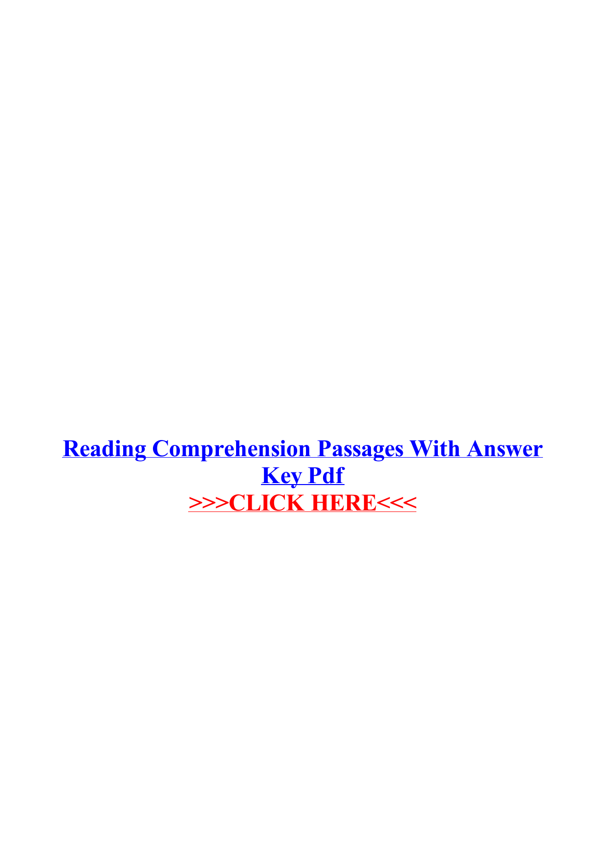Reading Comprehension Passages With Answer Key