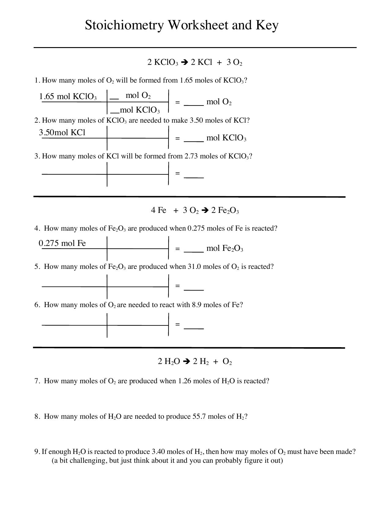 Stoichiometry 1 Worksheet And Key