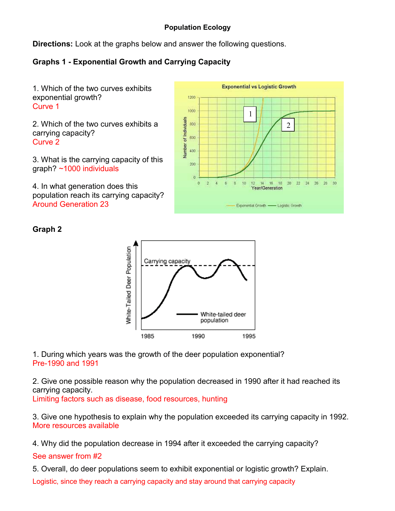 Population Ecology Graph Worksheet Key