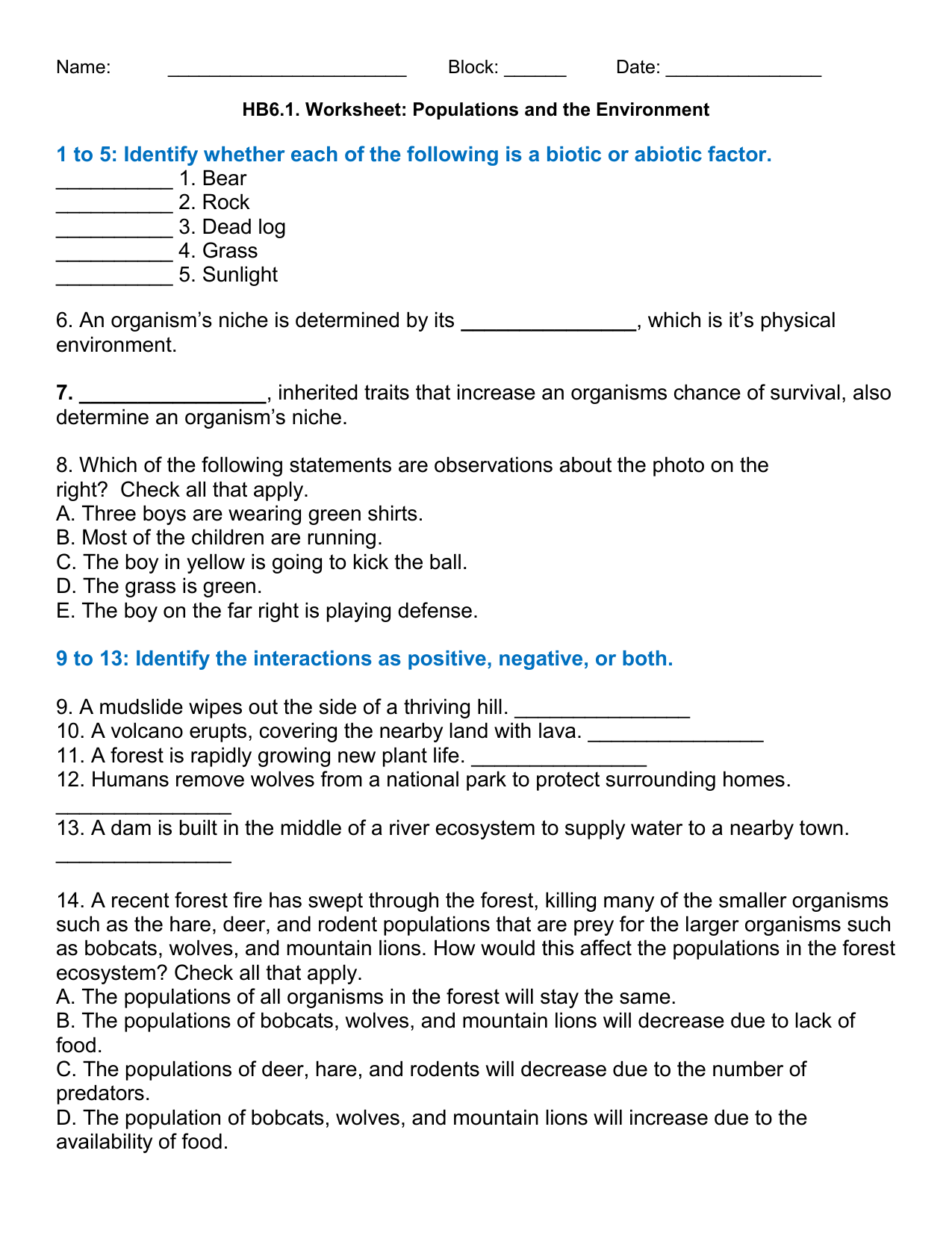 Populations And The Environment Worksheet