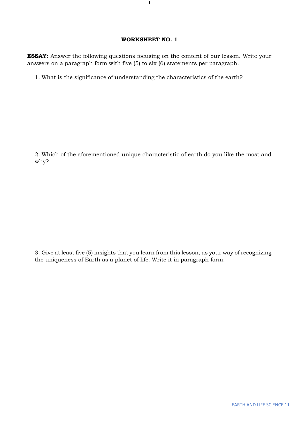 Worksheet In Earth And Life Science 11 Stem Final