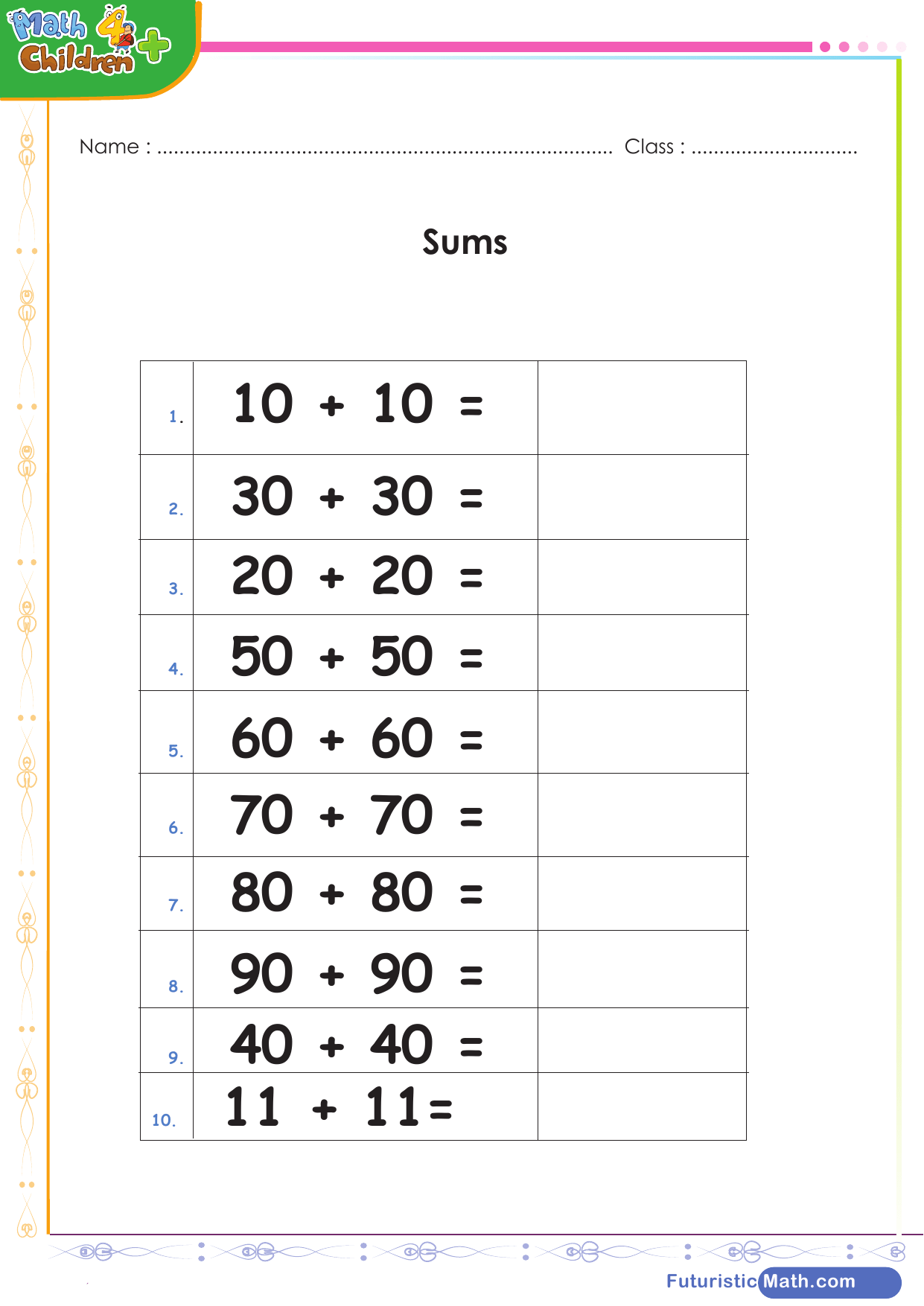 Adding Doubles 2 Digits Worksheet