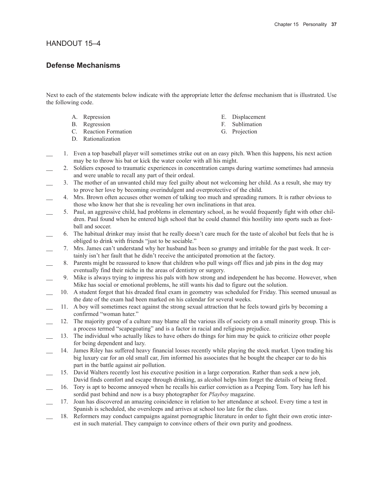 Defense Mechanism Worksheet