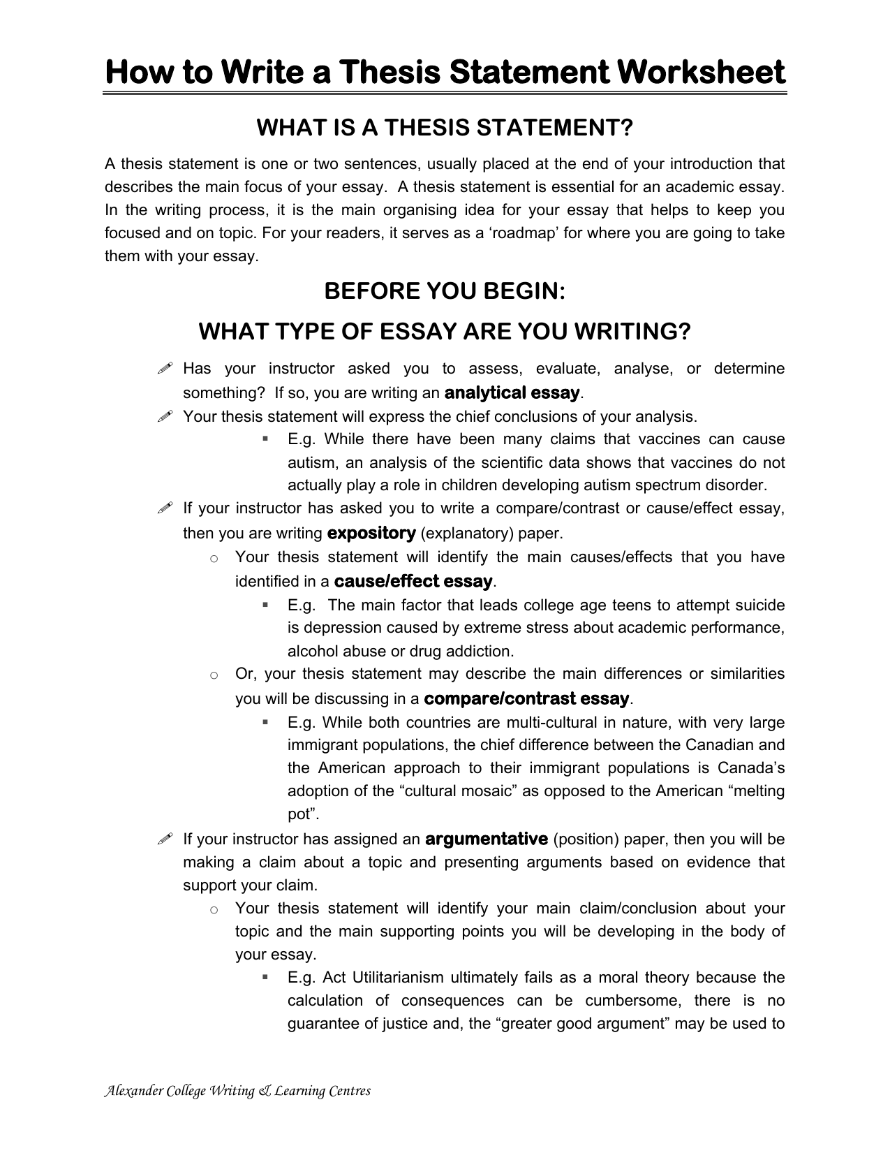 Writing Guide Worksheet Thesis Statement
