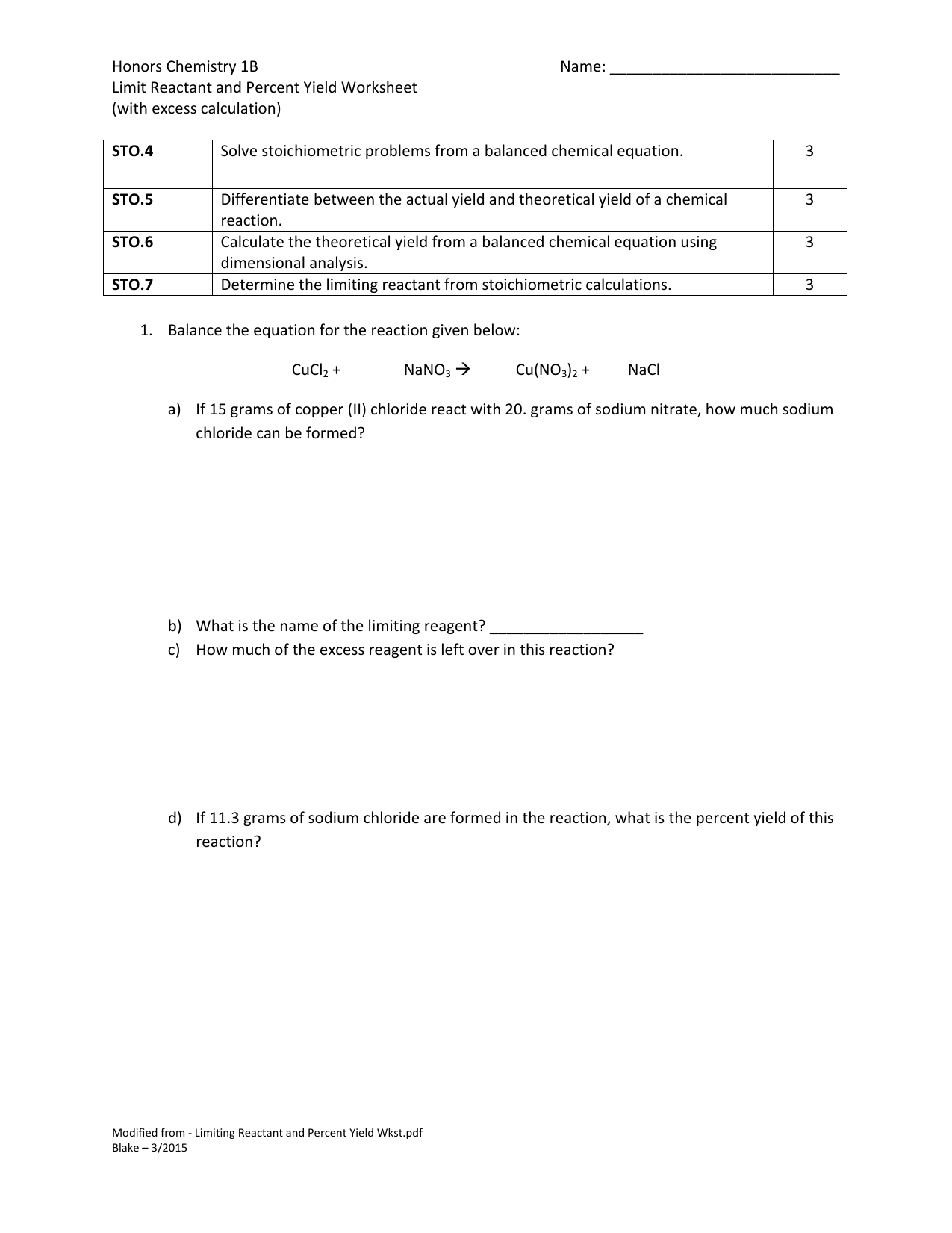 Limiting Reactant And Percent Yield Worksheet With Key