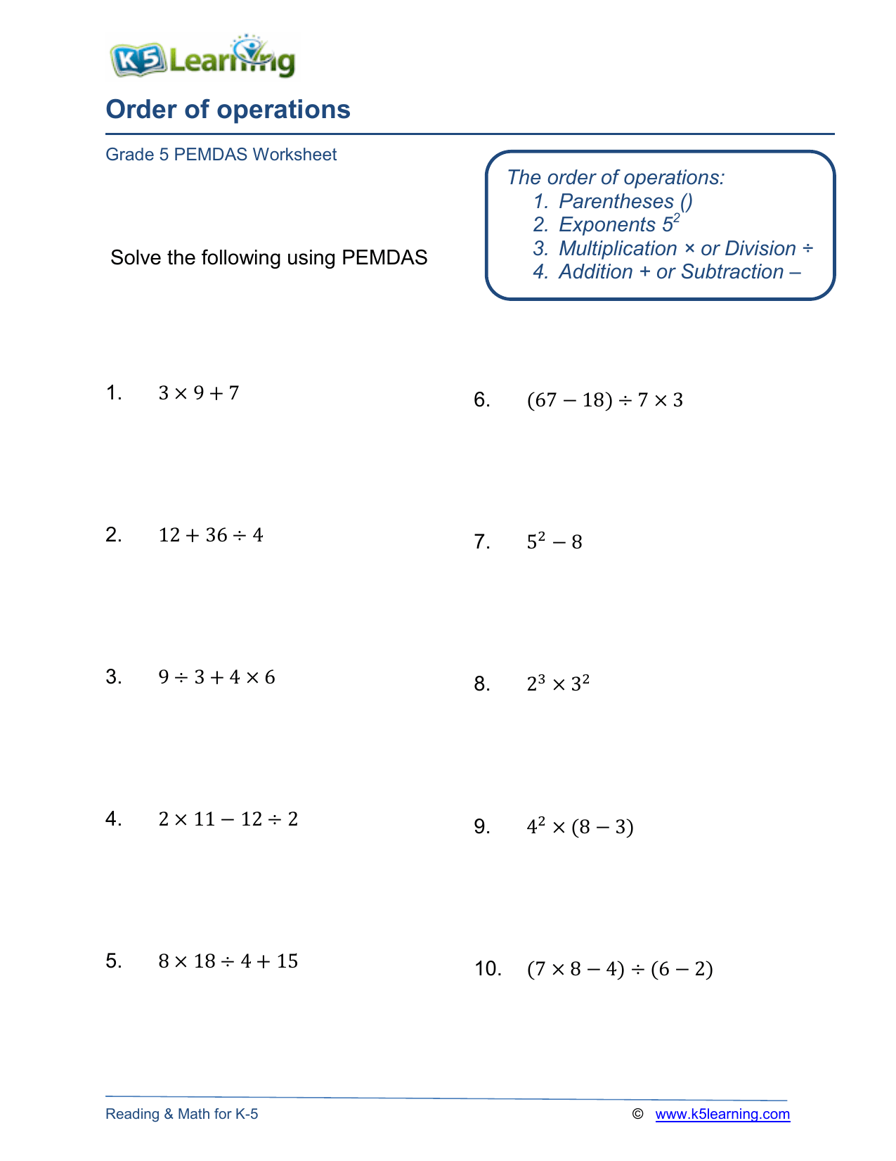Grade 5 Order Operations Worksheet