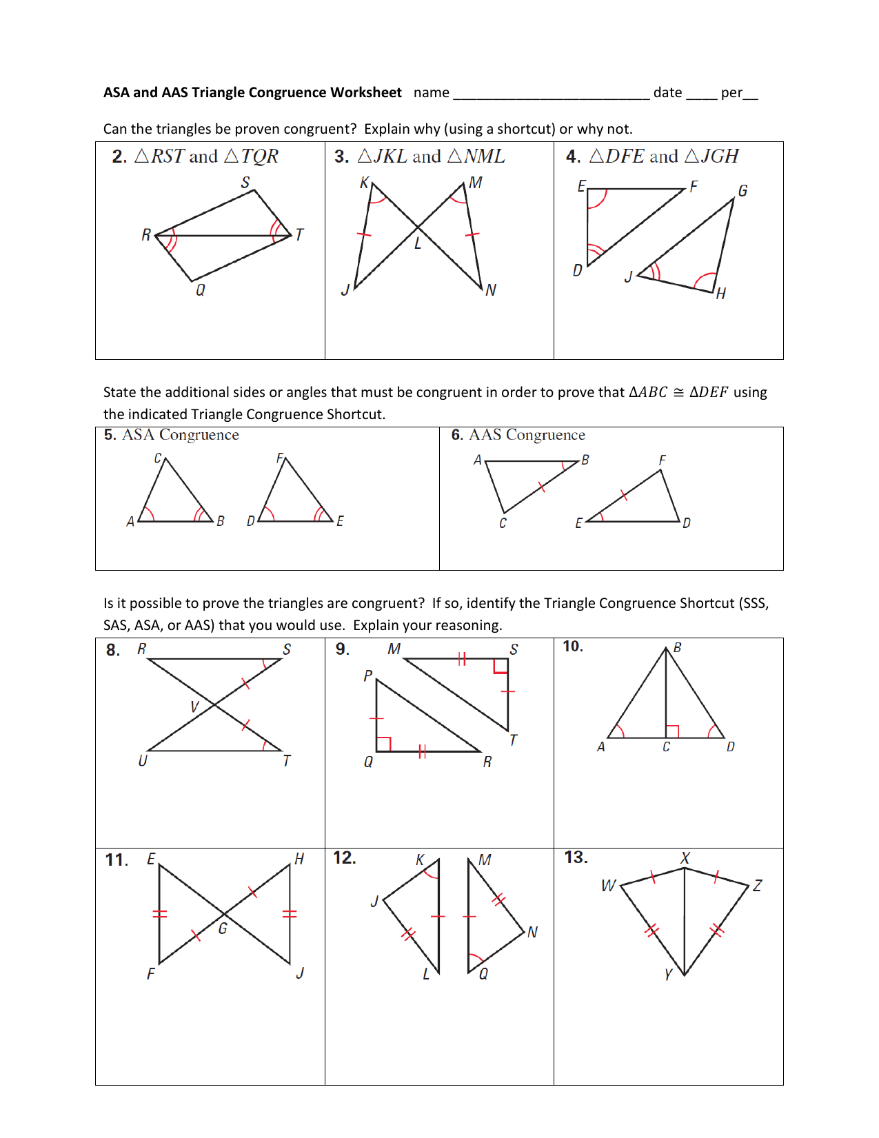 Triangle Congruence Worksheet Answer Key : triangle, congruence, worksheet, answer, Worksheet, Triangle, Congruence, Printable, Worksheets, Activities, Teachers,, Parents,, Tutors, Homeschool, Families