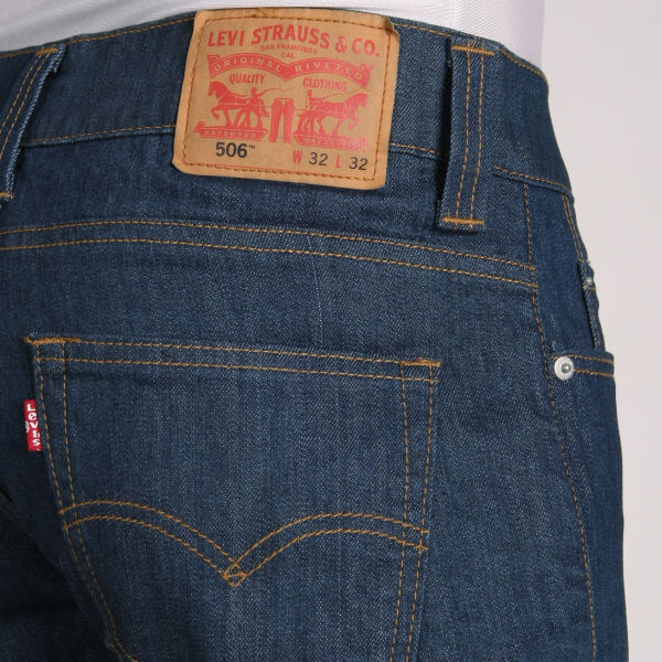 Levis Mens 506 Straight Leg Jeans Rinse Wash Mens Clothing