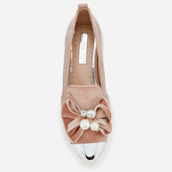 Miss KG Women's Lottie Velvet Pointed Slip-On Trainers - Nude: Image 21