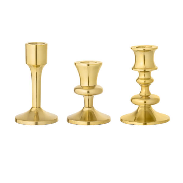 Bloomingville Gold Candlestick Holders (Set of 3)