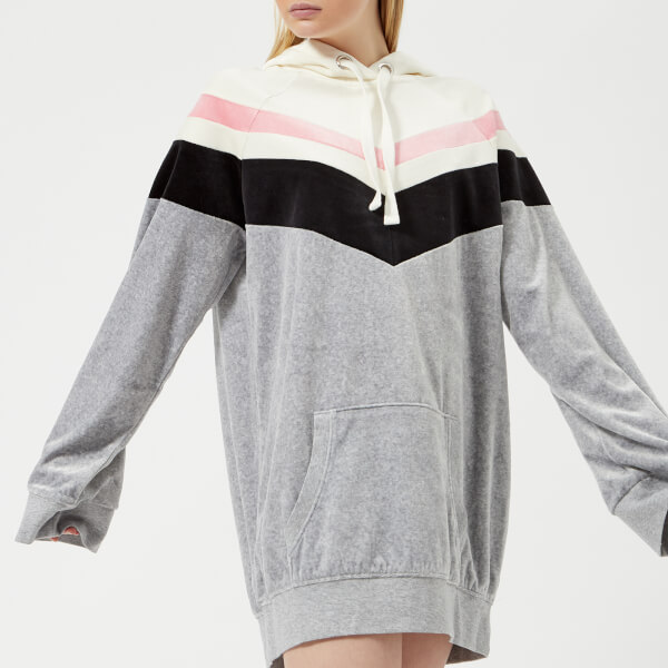 Juicy Couture Women's Colourblock Lightweight Velour Hooded Dress - Silver Lining Angel Combo