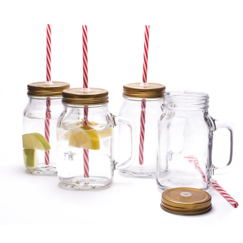 Mason Jar Mug Glasses Set Of 4 IWOOT
