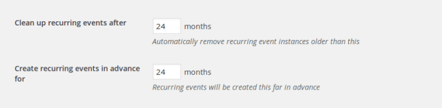 Settings for the automatic generation and cleanup of events