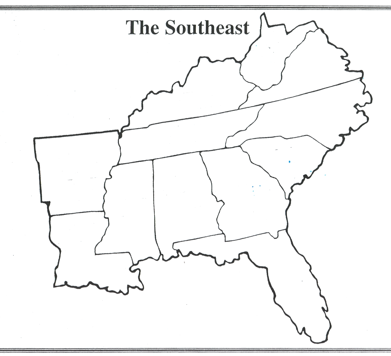 Southeastern United States Outline Map