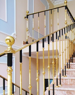 Grand Forge Collections Railing Post And Balusters Gold | Brass Handrails For Stairs | Aluminum | Classic | Medallion | Cantilevered Spiral Stair | Wrought Iron Railing