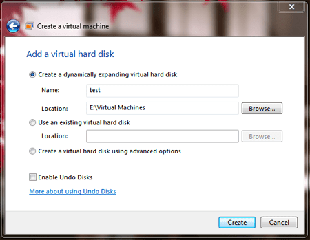windows virtual pc setting up virtual machine create virtual machine setup virtual hard disk