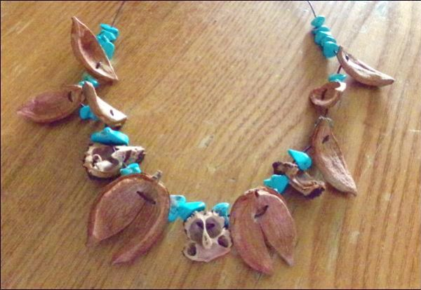Hickory and walnut shell necklace