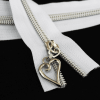 #5 white zipper tape with silver coil heart