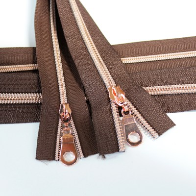 3-5-Nylon-Coil-Zipper-chocolate-brown-with-rose-gold-teeth