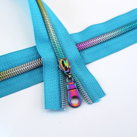 #5 Turquoise Zipper with Rainbow Coil