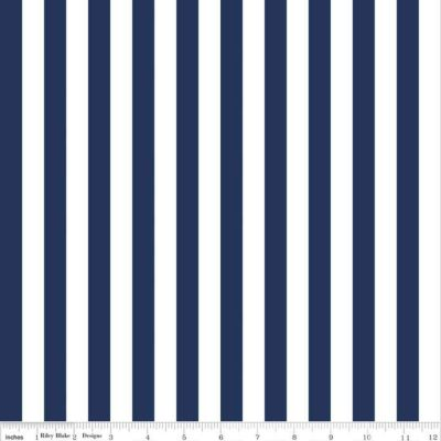 1-2 stripe navy fabric