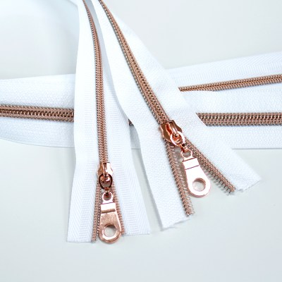 #3_#5_Nylon_Coil_Zipper_White_Rose_Gold_Coil