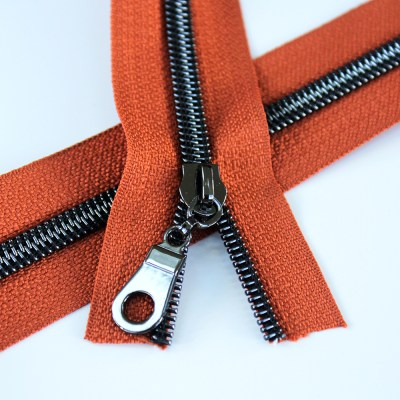 5-Nylon-Coil-Zipper-rust-orange-with-gunmetal-teeth