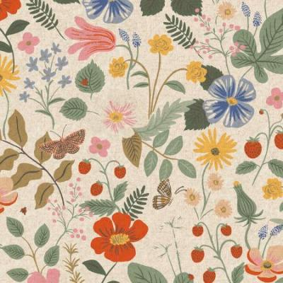 Strawberry Fields - Linen Unbleached Canvas Fabric
