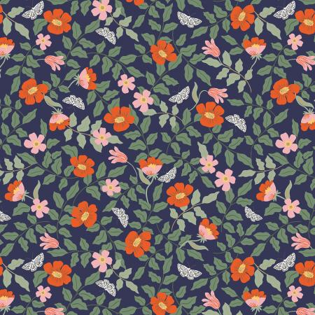 Strawberry Fields - Primrose - Navy Fabric