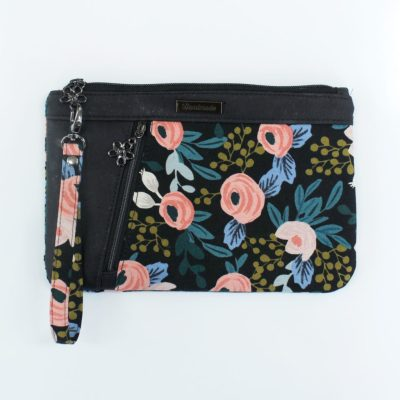 Zippy Clutch - black cork with Rosa Black2