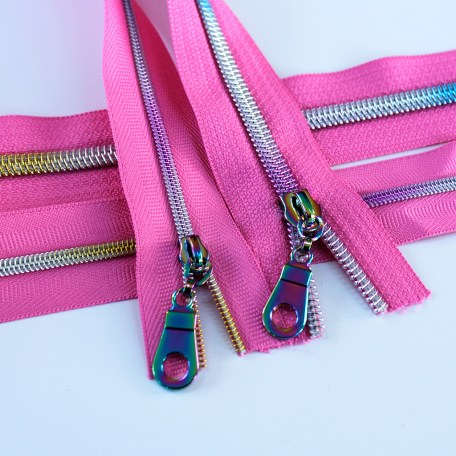 #3-#5-off-princess-pink-zipper-with-rainbow-coil