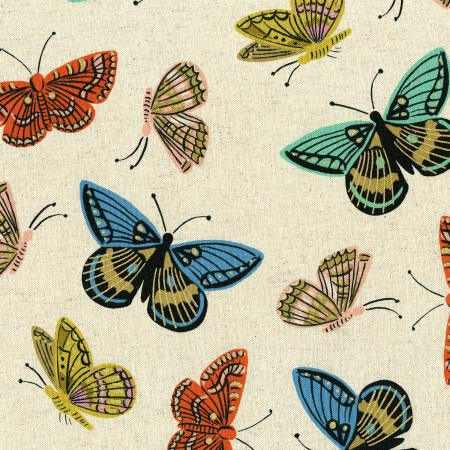 English Garden - Monarch - Natural Canvas Metallic Fabric