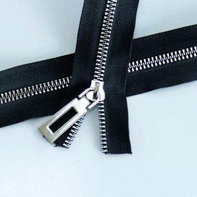 #5 Black Resin Zipper with Silver Teeth