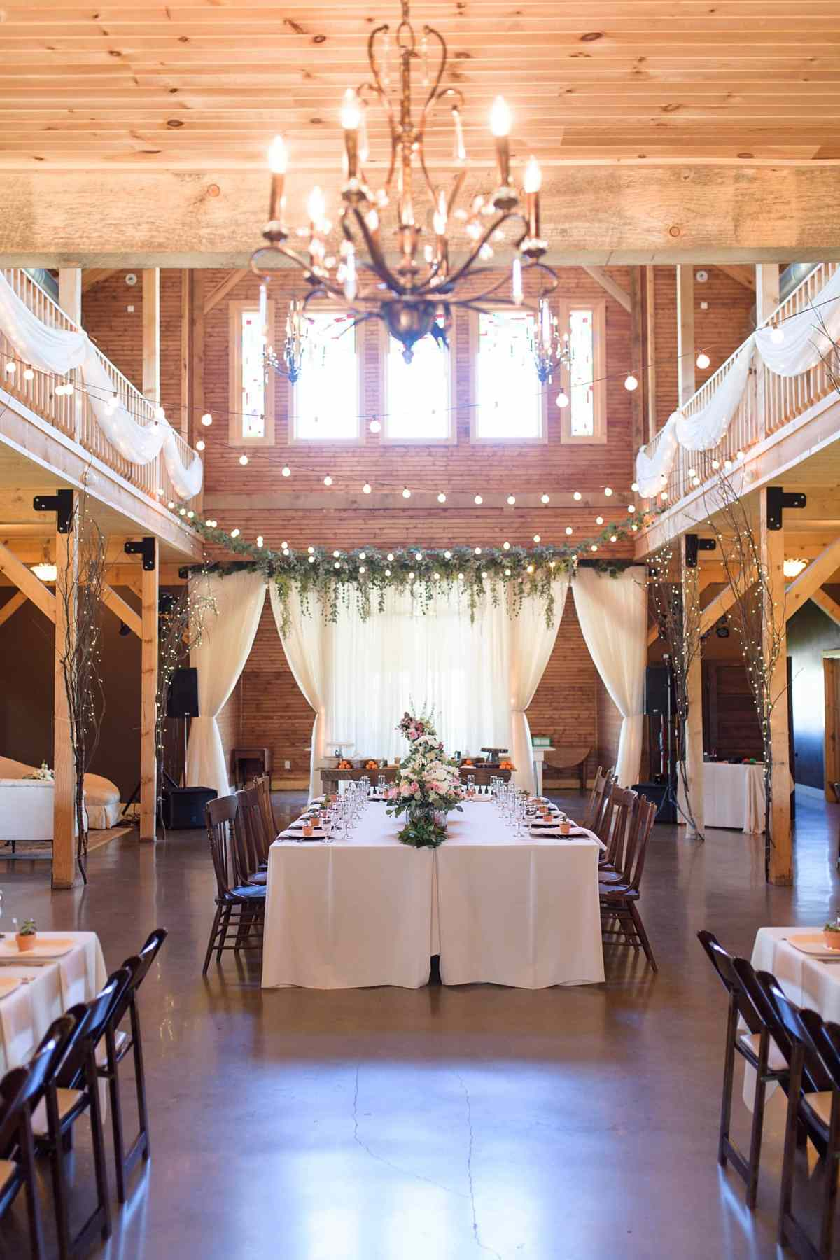 sugar grove vineyard wedding reception kings table
