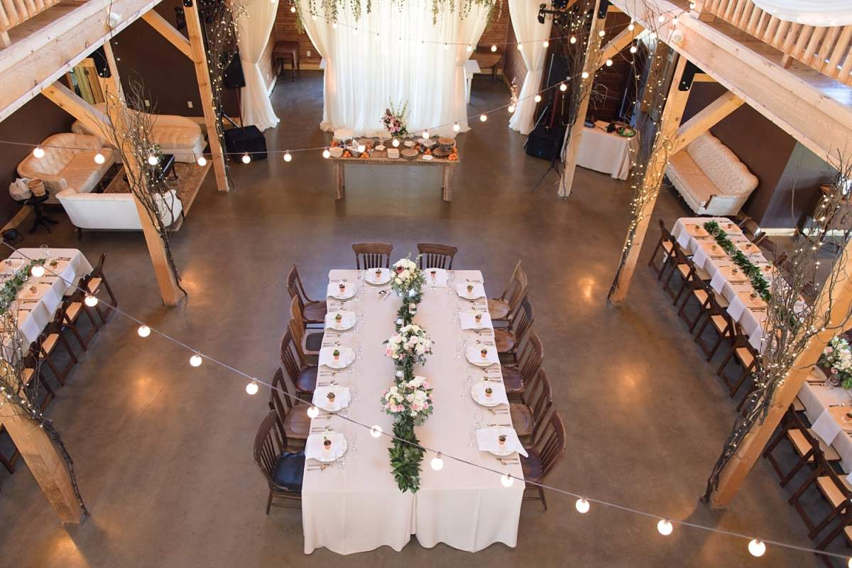 overhead view of kings table at sugar grove vineyard in newton iowa