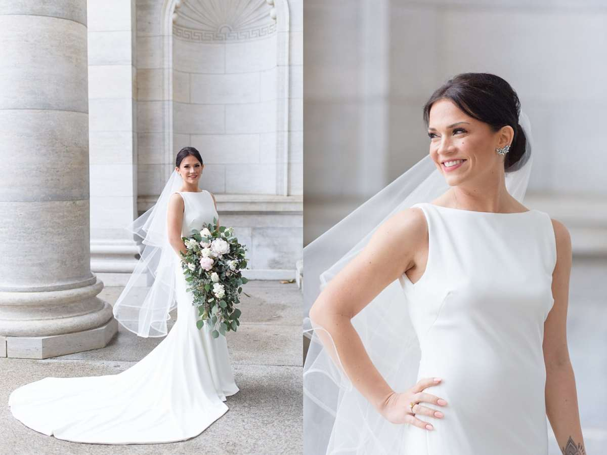 classic white bridal dress with high neck