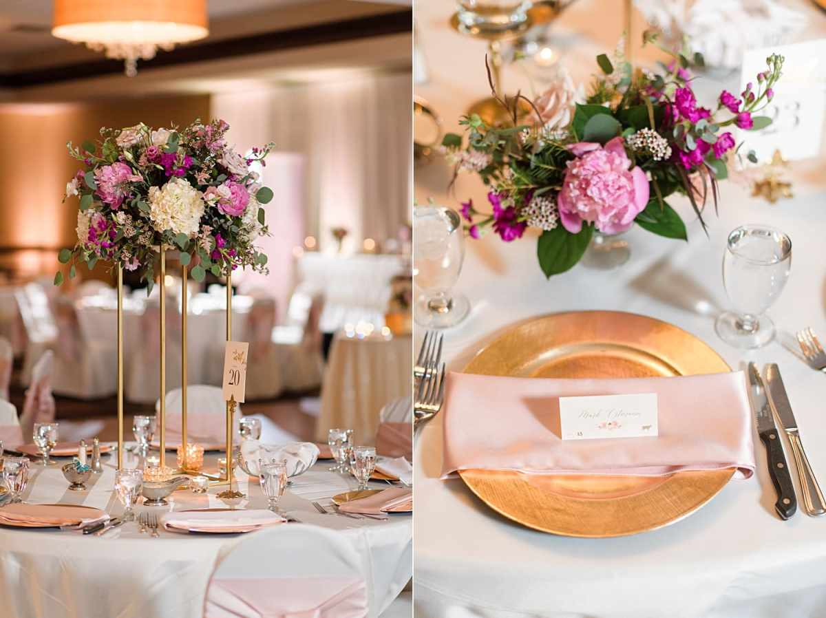 gold chargers with pink napkins and tall blush and pink floral arrangements