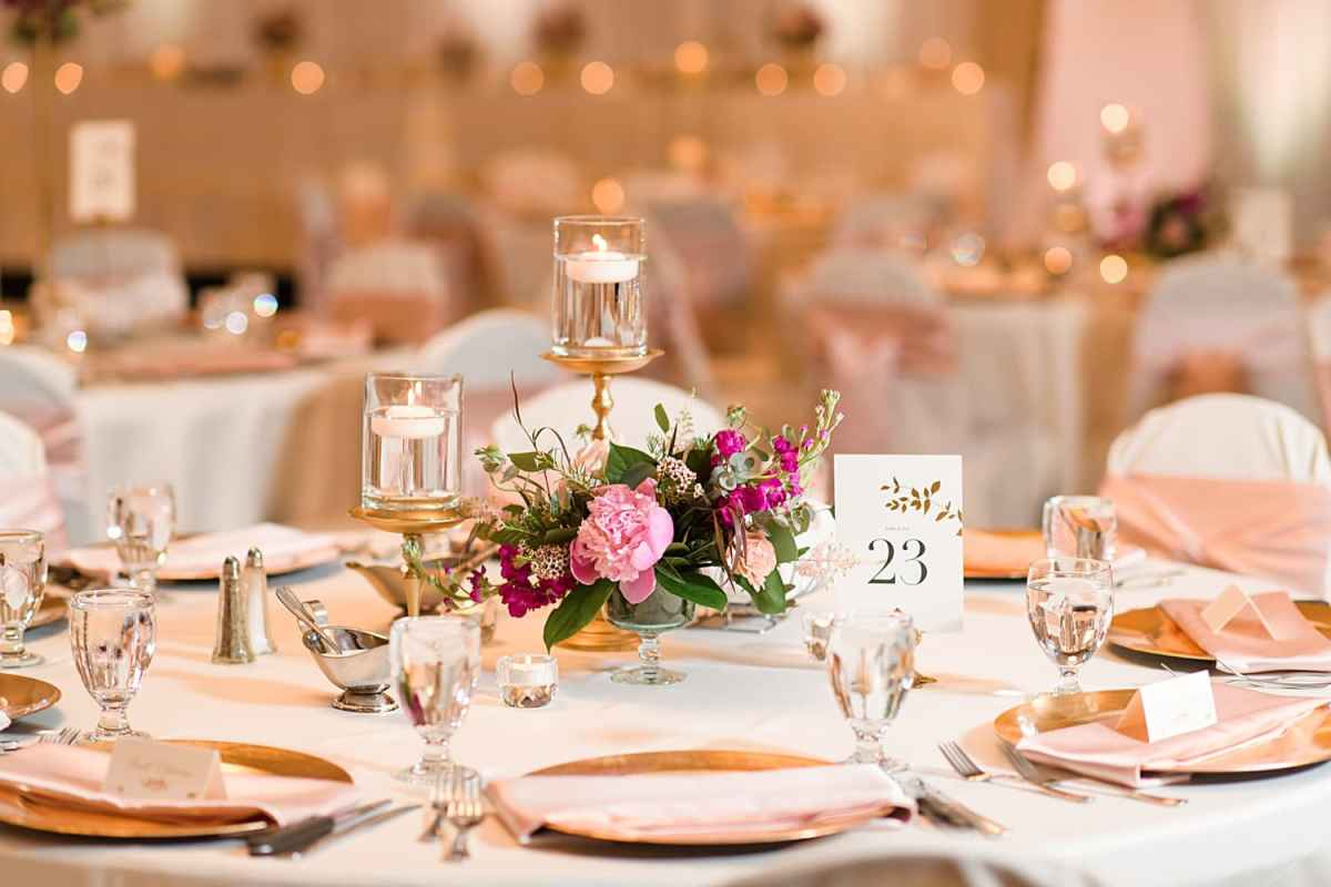 peonies candles and blush colors with gold accents wedding decor