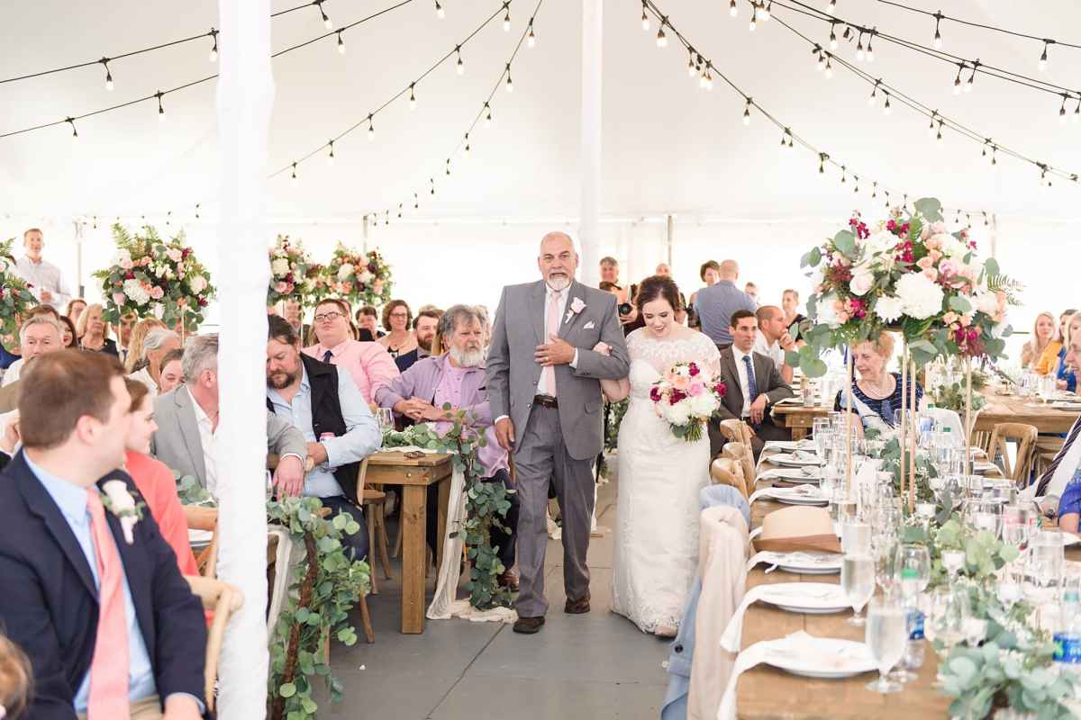 ceremony in reception tent