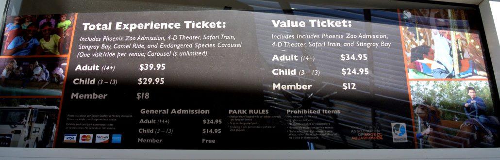 Phoenix Zoo Admission Prices