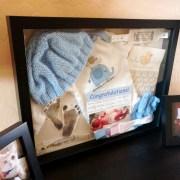 baby, shadow, box, craft, diy, do it yourself, outfit, card, footprint, pregnancy test, hospital, bracelet, newborn, details, hat, onesie, mittens, display, memories, parenthood, motherhood, babyhood, infant, fatherhood, blue, awesome, lifestyle, home, momblogger