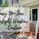 diy, do it yourself, easy, no-sew, sidelight window, curtain, crafty, craft, lifestyle, household, decor, front door, make it yourself, recycle, reuse, effortless, screw eye hooks, sheer curtain, panel, ribbon, cardboard, handy, creative, white curtains, mom blogger, mom blog, little conquest