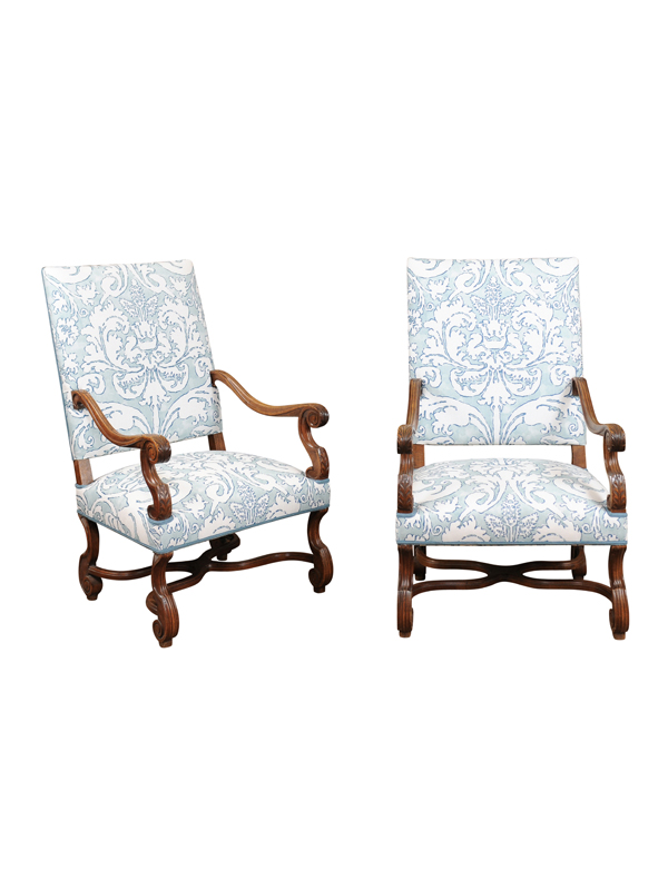 pair of louis xiv style walnut fauteuils with cross stretchers france ca 1890