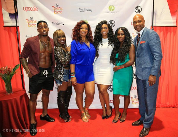 (L-R) Andre Sinclair (MTV Are You The One?); Meelah (TV One R&B Divas/702); Syleena Johnson (TV One R&B Divas); Porsha Stewart (BRAVO Real Housewives of Atlanta); Chanel (Trin-I-tee 5:7); Palmer Williams (OWN Tyler Perry: Love Thy Neighbor)