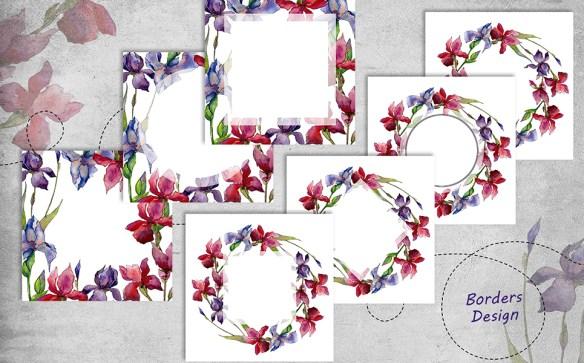 ?olorful Irises PNG Watercolor Set Illustrations