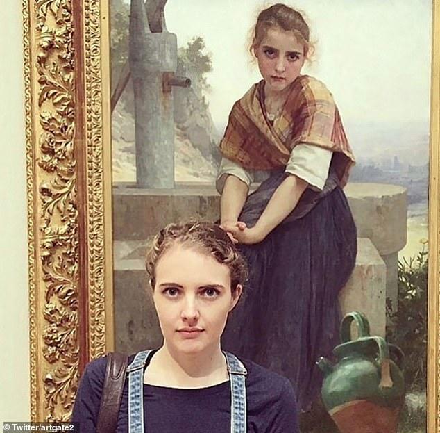 Los fanáticos del arte han estado compartiendo su extraño parecido con los retratos de los museos, incluida esta mujer que se paró frente a 'The Broken Pitcher' de William-Adolphe Bouguereau.