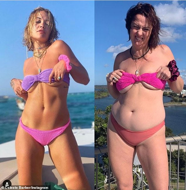 'A algunas personas no les gusta': la comediante Celeste Barber (derecha) admite que algunas celebridades la han BLOQUEADO porque encuentran que sus divertidas parodias de Instagram son 'malas'.  En la foto de la izquierda: Rita Ora