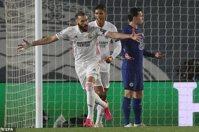 Karim Benzema marcó este martes un gol vital del empate del Real Madrid ante el Chelsea
