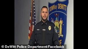 Una investigación encontró que el oficial Rory Spain (en la foto) del Departamento de Policía de Dewitt estaba justificado en su uso de la fuerza cuando golpeó a Tyrena Edmonds en la garganta el 4 de julio.