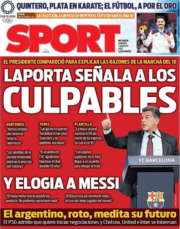 'Laporta señala con el dedo a los culpables', decía la portada del diario catalán Sport